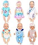 ebuddy 6 juegos de accesorios de ropa de muñeca que incluye vestido, pelele, vestido de noche, diadema y sombrero para muñecas recién nacidas de 43 cm