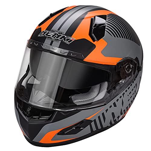 NENKI Casco integrale Moto Motocicletta NK856 con Calotta Esterna in Fibre Composite, omologato ECE, con doppia visiera,Nero Opaco Arancio,S(55-56CM)