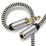 3.5mm Male to Female Audio Cable 3M, Hanprmeee 3.5mm Male to Female Stereo Jack Cord for Phones, Headphones,Home/Car Stereos and More(3M/10Ft)