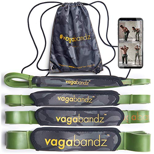 Vagabandz Padded Exercise Bands (Set of 4 Bands with 50 Exercises app) Handle for Wrist, Hand, Ankle, Neck, Sweat, no Glove Needed, Fitness Pull up Bands, Crossfit Home Workout, Physical Therapy