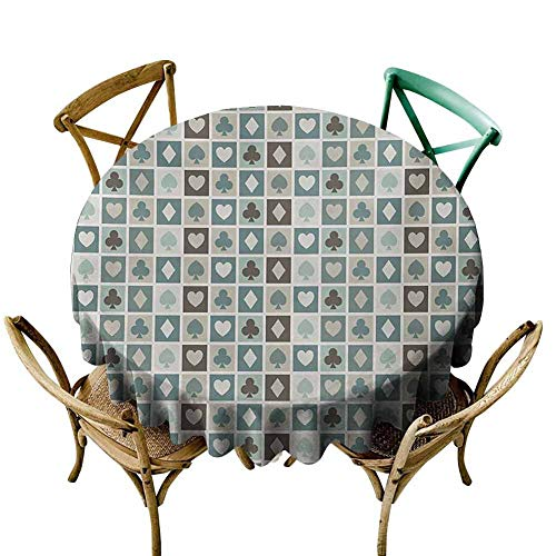 Picnic Cloth Casino,Card Suits Hearts Spades Diamonds and Clubs Pattern Gaming Houses Addiction Print,Multicolor Diameter 70' Dinning Round Tablecloth