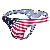 YOOBNG Men's G-String Thong Bikini Briefs Sexy Underwear Jockstrap Thongs USA American Flag