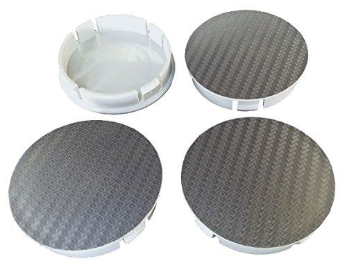 Born 1 Lot de 4 cache-moyeux en carbone gris x60 mm – Convient pour jantes avec trou intérieur de 55,5-56 mm.
