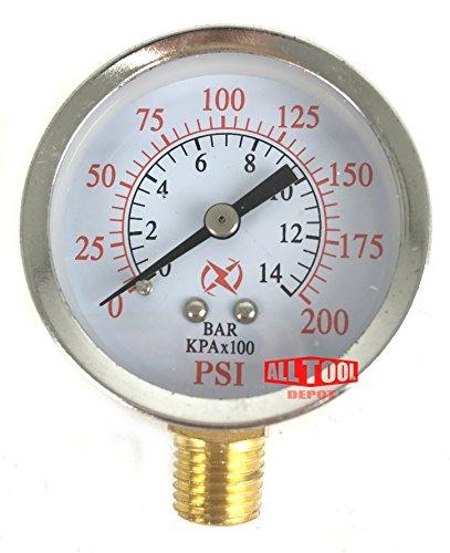 2' Air Pressure Gauge Side Mount 1/4' NPT 2' Dial - 0 to 200 PSI