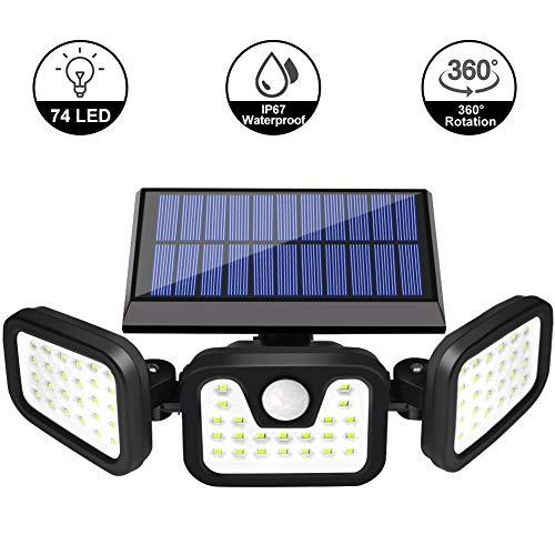 Viugreum Luce Solare LED Esterno, Risparmio Energetico Lampade da parete, 74LED Lampade Solari Sensore di Movimento 270° Illuminazione Luci Esterno Energia Lampada Solare Impermeabile per Giardino