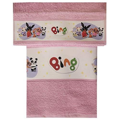 Set Spugna BING Coppia 2 Pezzi 1+1 Ospite 30 x 50 + Asciugamano 55 x 100 Spugna Di Puro Cotone ASILO SCUOLA MATERNA (Bing rosa)