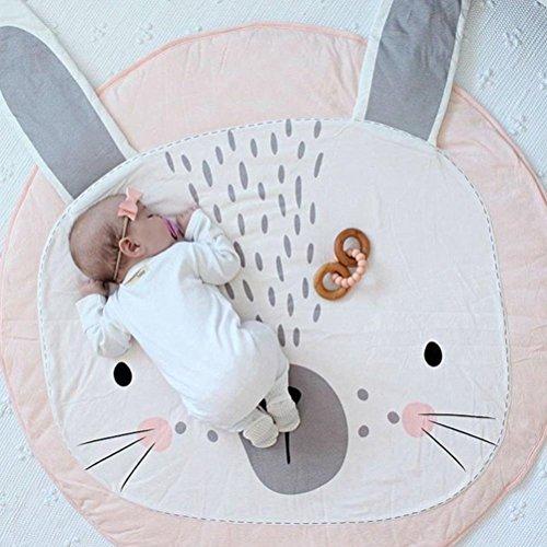 Baumwolle Krabbeldecke groß und weich gepolstert 90 x 90cm für Baby Kinder (Rosa Häschen)