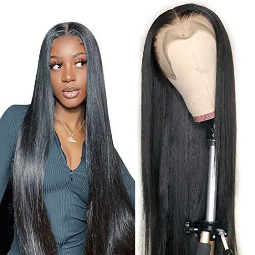 13x6 HD Lace Front Wigs Human Hair for Black Women Bone Silk Straight Natural Hair Wigs Glueless Lace Frontal Human Hair Wigs Pre Plucked With Baby Hair Transparent Lace Wigs 180% Density 24 Inch