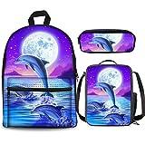 Lindo Ocean Dolphin - Juego de mochila de 3 piezas de 38 cm, bolsa para el almuerzo, estuche para niños y niñas de 1 a 6º grado para regresar a la escuela