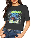 AlbertV Outkast ATLiens Sexy Exposed Navel Women T-Shirt Bare Midriff Crop Top Tshirts Black M