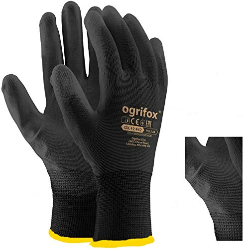 24 pares de guantes de trabajo de nailon negro con revestimiento de poliuretano, para jardinería, constructores, mecánicos (XL-10)
