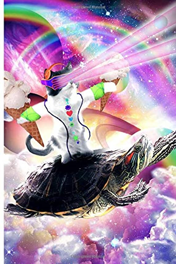 外科医暗いスケルトンLazer Rave Space Cat Riding Turtle Eating Ice Cream Journal Notebook