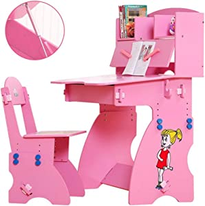 EXCLVEA-TCS Baby Activity Table- Childrens Study Desk Chair Table Set Tiltable Table And Chair For Kids Art Wood Table Set Work Station Height Adjustable Baby Play Table  Color Pink