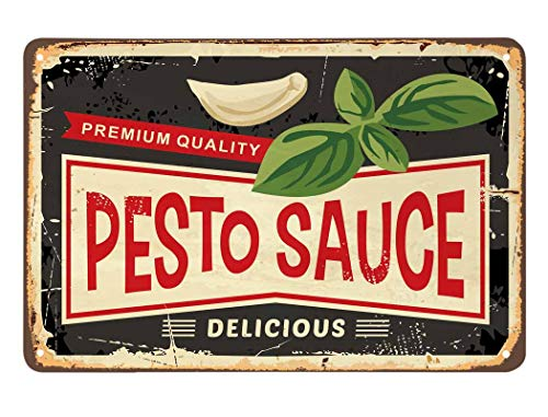 AOYEGO Pesto Sauce Tin Sign, Vintage Metal Tin Signs for Cafes Bars Pubs Shop Wall Decorative Funny Retro Signs for Men Women 8x12 Inch