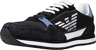 Emporio Armani Herren Mesh Logo Sneaker Joggingschuhe Sneaker Blau
