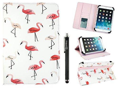 emartbuy Universal 10-11 Zoll Flamingos Mehrfachwinkel Folio Brieftasche Hülle Cover Mit Steckplätze Für Bankkarten Und Stylus Stift Geeignet Für Ausgewählte Geräte Aufgeführt Unten