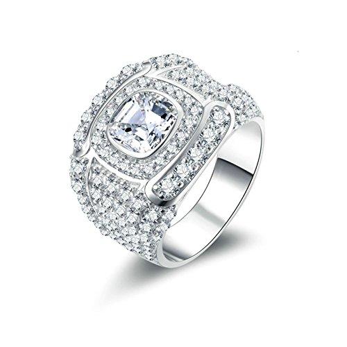 Beydodo Anelli Argento 925 Zirconi Donna Anelli Fidanzamento Brillanti Anello di Cristallo con Rotonda Brillante Diamante Taglia 10-27