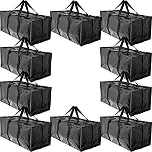 BAG-THAT! 10 Moving Bags, Heavy Duty Extra Large Stronger Handles Wrap Around bag Storage Bags Moving Totes Storage Totes Zippered Reusable Moving Supplies Clothes Attic Sports Garage Travel College