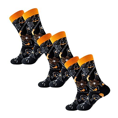 YWLINK Calcetines De Halloween 3 Par De Medias De CompresióN con PatróN De Calavera Calcetines Largos Moda Calcetines De Halloween Hombre Mujer Medias De AlgodóN Calcetines Largos (B, 3PC)