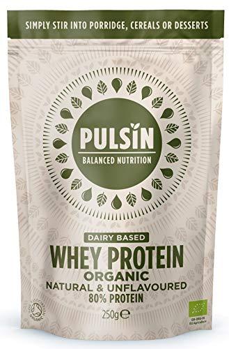 Pulsin Unflavoured Organic Whey Protein Powder 250g | 80 % Protein | Gluten Free | Natural | Grass Fed