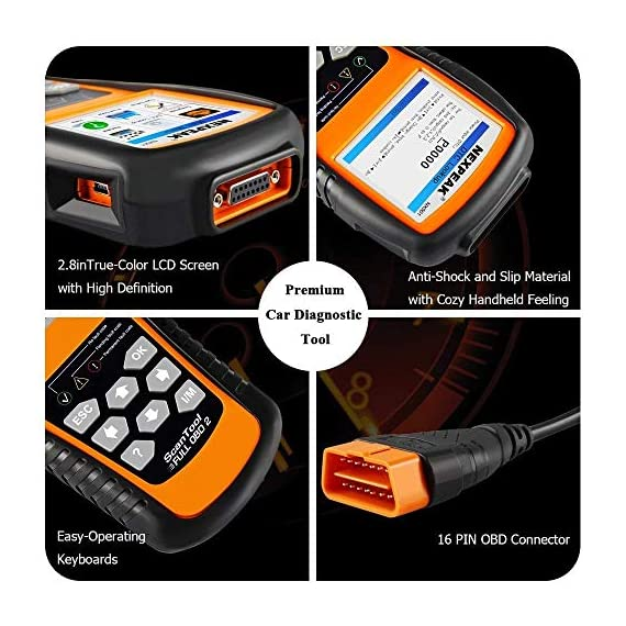 NEXPEAK OBD2 Scanner NX501 Enhanced OBD II Auto Code Reader Car Diagnostic Scan Tool Vehicle Check Engine Light Analyzer… 6 【Professional Vehicle Code Reader】 NEXPEAK NX501 is an enhanced auto scanner that you can NOT ONLY check all engine related fault codes, find out what caused the check engine light comes on, turn-off Malfunction Indicator Lamp (MIL), locate bad O2 sensor, but also can monitor car battery health status, remind you when the battery need to be replaced. It's a perfect scan tool helps you to determine if your car need to be repaired and avoid blind maintenance, saves your time and money. 【Wide Array of Compatibility】 Accurately read and erase error codes on all OBD2 protocol vehicles with a 16 PIN interface (KWP2000, ISO9141, J1850 VPW, J1850 PWM and CAN). The NEXPEAK NX501 is compatible with most US vehicles that are model year 1996 or later – including sedans, SUVs, light trucks, and 12V diesels. This is a plug-and-play engine diagnostic code reader (both generic and manufacturer specific codes) – no extra batteries or apps required. 【NOT ONLY Full OBD2 Function】 All 10 modes OBD2 diagnostic function including: read and erase fault codes, retrieve I/M readiness and freeze frame data. Unique graphical forms to display live sensor data, Auto VIN acquisition, O2 Sensor and EVAP Test (Mode 8), Advanced On-board Monitoring (Mode 6). This auto analyzer can not only reveal what error codes your car is producing, but also monitor the battery voltage at all time during OBD car diagnostic, reminds you when having an aging battery