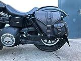 Orletanos Dynamite Black Borsa da Sella Compatibile con Dyna Glide Dal Harley Davidson Street Bob Modello 1996-2017 in pelle Sportster Tasca Laterale Valigia Bagaglio Saddle Bag HD Lato Sinsitro