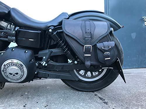 ORLETANOS Dynamite Black Satteltasche kompatibel mit Harley Davidson Dyna Glide Street Bob Modell 1996-2017 Ledertasche Sportster Seitentasche Gepäckkoffer Seitenkoffer Saddle Bag HD Linke Seite Left