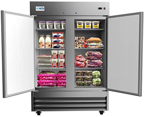KoolMore 54' 2 Door Stainless Steel Commercial Reach-in Refrigerator Cooler - 47 cu. ft