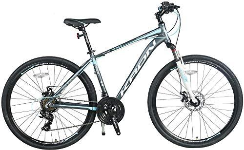 KRON TX-100 Aluminium Mountainbike 28 Zoll   21 Gang Shimano Kettenschaltung mit Scheibenbremse   18 Zoll Rahmen MTB Erwachsenen- und Jugendfahrrad   Grau Blau - 2