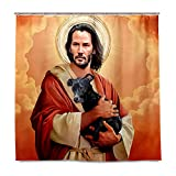 J.COXLOD Funny Shower Curtain with Hooks, Keanu Reeves Shower Curtains Fabric Decorative Bathroom Curtain, 60x72inch