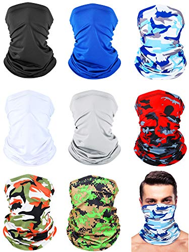 8 Pieces Sun Protection Neck Gaiter Breathable Bandana Headwrap Balaclava Unisex Face Cover Scarf for Outdoor Sports (Gray, Navy Blue, Black, White, Camo)