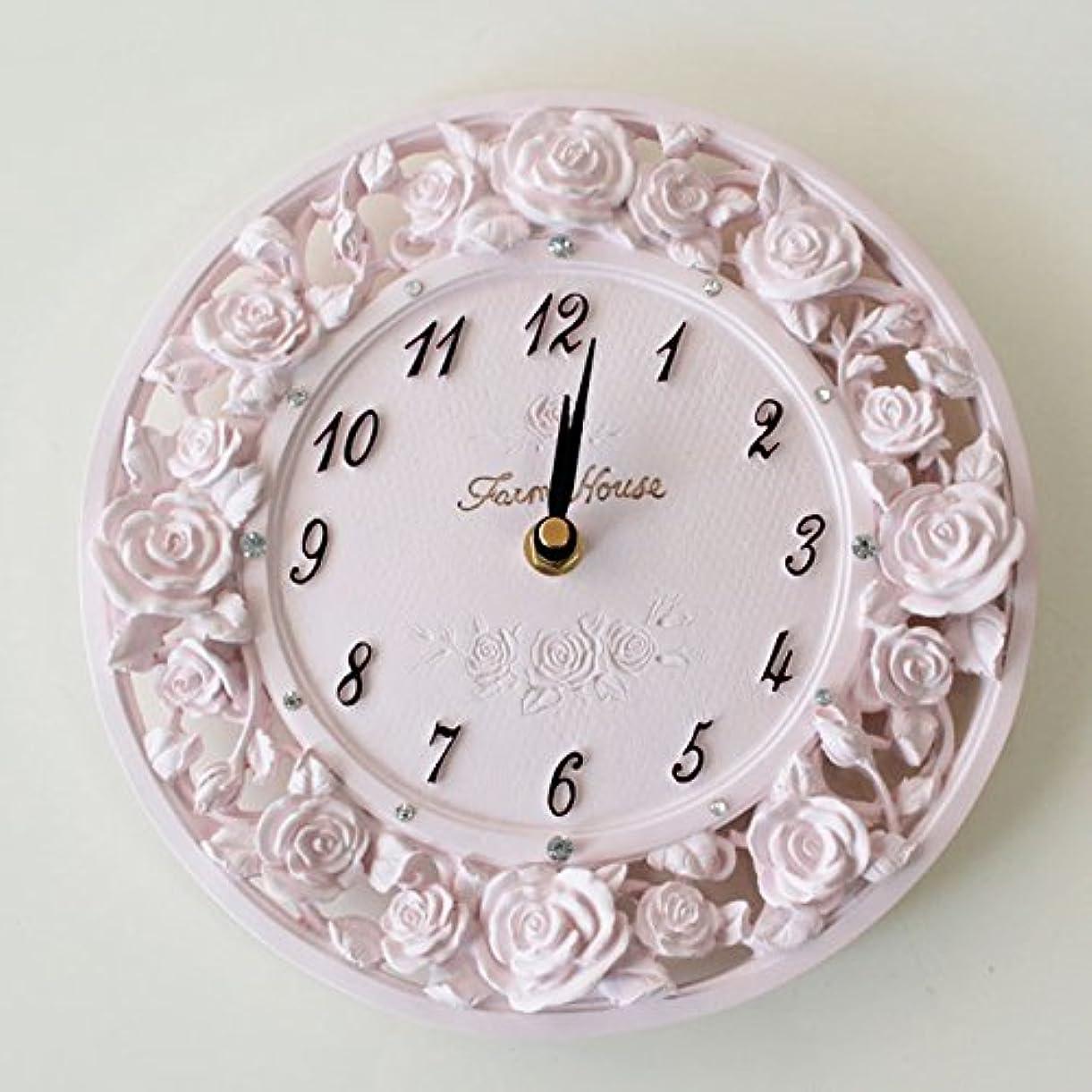 不利益小包亡命掛け時計 ローズレリーフ ピンク かわいい 姫系 ローズ 掛け時計 薔薇の掛時計