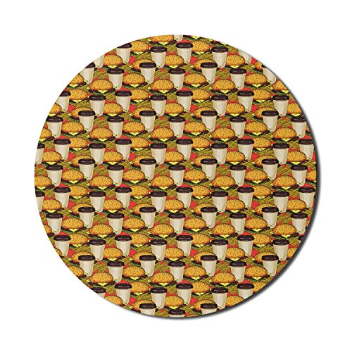 Soda Mouse Pad für Computer, Hamburger Kaffee mit Pommes Frites Köstliches amerikanisches Menü Abendessen, rundes rutschfestes dickes Gummi Modern Gaming Mousepad, 8 'rund, erdgelb Beige