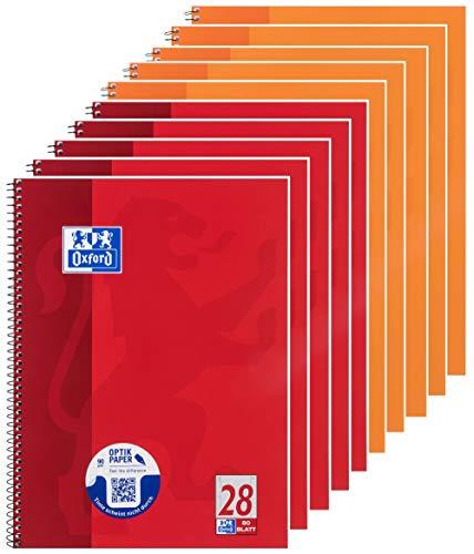 Oxford Schule Collegeblock A4 5 linierte und 5 karierte Blöcke, rot blau, 10er Pack