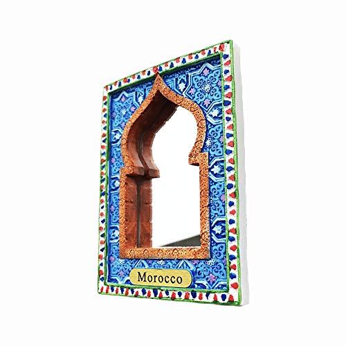 Marruecos tallado imán de nevera 3D con espejo de regalo, hecho a mano para el hogar y la cocina decoración Marruecos refrigerador imán colección