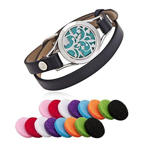 Acciaio inossidabile, diffusore di oli essenziali aromaterapia medaglione bracciali in pelle Band con 16pcs pastiglie di colore, donna gioielli regalo set