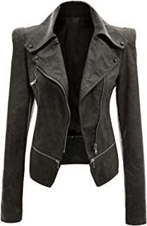 Surprise S Women's Zipper Tunic Jacket Coats Casual Jackets Zip Up Biker Coats Flight