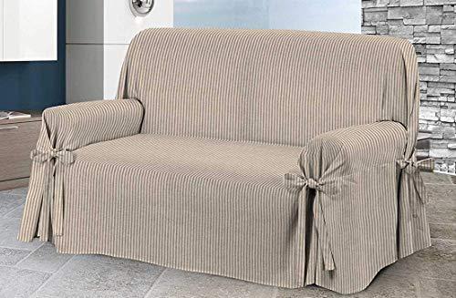 Home Life – Cubre sofá de 2 plazas – Elegante Protector de sofás a Rayas – Funda de sofá de algodón para Proteger del Polvo, Las Manchas y el Desgaste, Fabricado en Italia – Gris