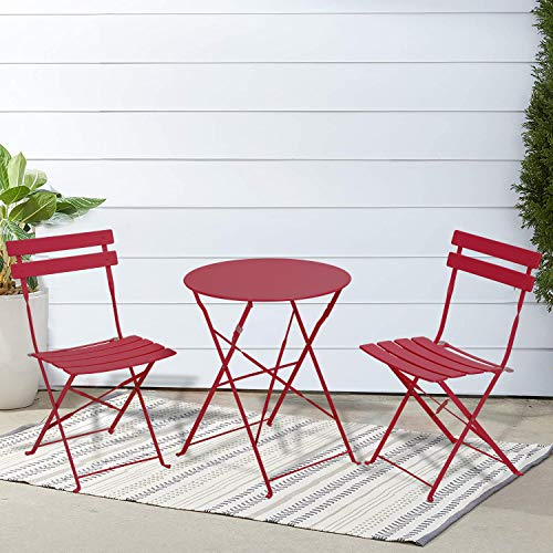 INOVIX red Grand Premium Steel Bistro, Folding Outdoor Furniture, 3 Piece Set of Foldable Patio Table and Chairs