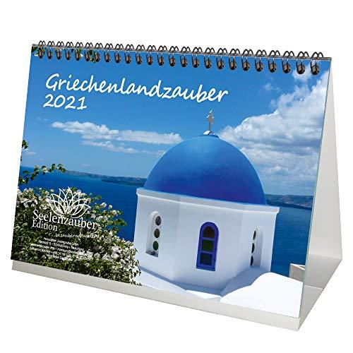 Griechenlandzauber DIN A5 Tischkalender für 2021 Griechenland - Geschenkset Inhalt: 1x Kalender, 1x Weihnachts- und 1x Grußkarte (insgesamt 3 Teile)