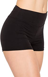 Women Workout Yoga Shorts - Premium Buttery Soft Stretch Cheerleader Running Dance Volleyball Short Pants with Stripes