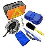 Kit de lavado de autos de 7 PCS, herramientas de limpieza de automóviles con toallas de microfibra, esponja para guantes, cuchilla de agua para ventanas, cepillo de ventilación para automóviles