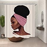 Sara Nell Afrikanische amerikanische Traditionelle Frauen mit rosa Kopftuch Duschvorhang mit 12 Haken, wasserdichtes und langlebiges Polyestergewebe, Badvorhänge, Badezimmer-Dekoration, 182,9 x 182,9 cm