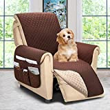 ASHLEYRIVER Reversible Recliner Chair Cover, Seat Width Up to 25 Inch Patent Pending,Recliner Covers for Dogs,Recliner Slipcover,(Recliner Medium:Chocolate/Beige)