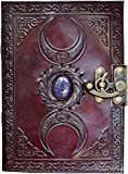 Blank spell book of shadows journal with lock clasp prop vintage handmade leather third eye stone diary embossed triple moon prayer pagan unlined paper witchcraft wiccan notebook daily 7 x 5 Inches.