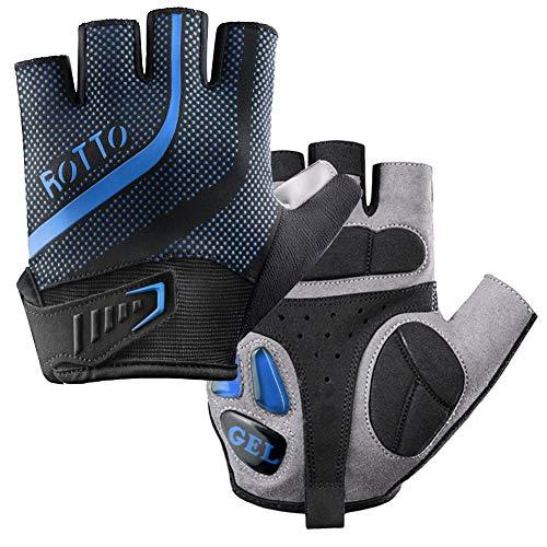 ROTTO Fahrradhandschuhe MTB Handschuhe Halbfinger Vollfinger für Herren Damen mit Gel und SBR-Polsterung (C-Schwarz-Blau, XL)
