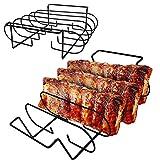 Rib-Halter & Bratenkorb, Rib Rack – BBQ Rib Rack Rack Multifunktions-Antihaft-Braten Whole Chicken Ribs Fleisch für Größere Gasgrills sowie Holzkohlegrills (A)