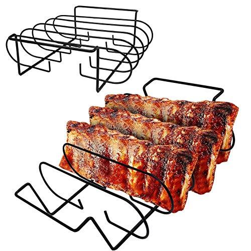 BBQ Rack Grill Hühnchen Rindfleisch Lammkotelett Rippen Antihaft Rib Halter BBQ Barbecue Grillen Braten Stand Steak Halter Küche Werkzeug für Home Restaurant Trip Party (A)