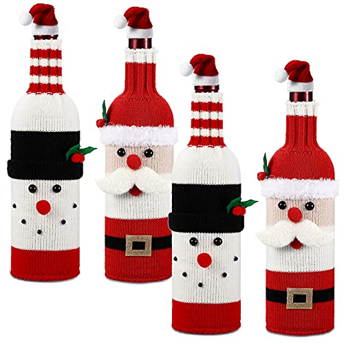 Didaey 4 Sets Christmas Wine Bottle Cover Xmas Sweater Wine Bottle Bag Santa Claus Snowman Bottle Sweater Bag Christmas Wine Bottle Cover Dress with Christmas Hat Topper for Christmas Party Decoration