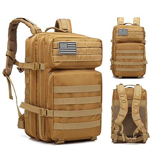 Ankoy 45 l de Gran Capacidad Hombre ejército Mochilas tácticas Bolsas de Asalto Militar al Aire Libre Pack para Senderismo Caza de Camping bolsaBrown